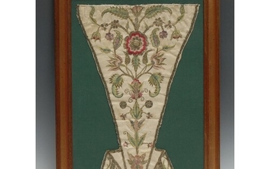An early 18th century needlework stomacher, worked in silk w...
