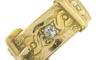 An early 20th century 18ct gold diamond buckle ring.
