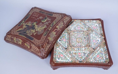 Antique Chinese Export Porcelain Hand Painted Tray Set in Lacquer Case AFR3SH