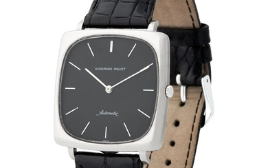 Audemars Piguet. Highly Rare and Extremely Well-Preserved TV Wristwatch in White Gold, With Black Dial