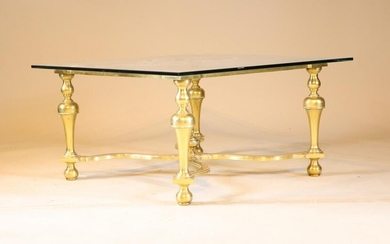 Baroque Style Brass and Glass Top Low Table