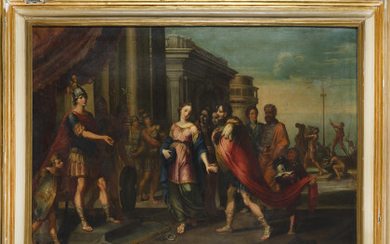 Bolognese school, early 18th century Biblical scene Oil on canvas, 99x135 cm. Framed (defects and restorations)Read more