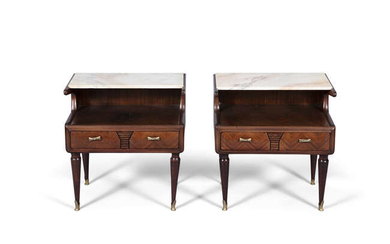 CABINETS A pair of Italian marble-topped bedside cabinets....
