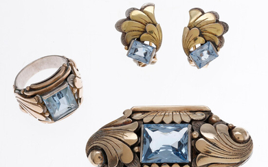 Catalan Art Deco brooch, ring and earrings set, circa 1930.