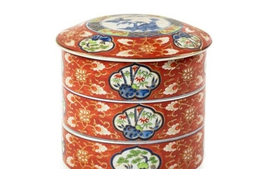 Chinese Red and Blue Porcelain Stacking Box