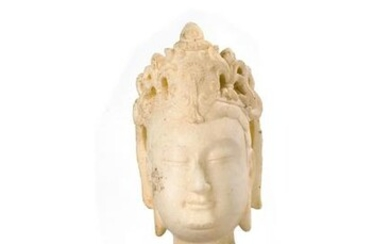 Chinese White Marble of Carved Buddha Head