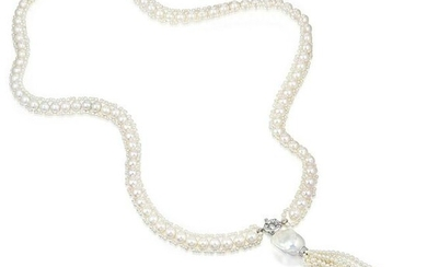 Cultured Pearl and Diamond Long Tassel Necklace