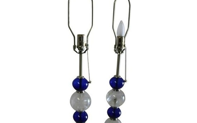 Deco/Modern Rock Crystal and Cobalt Blue Glass Lamps