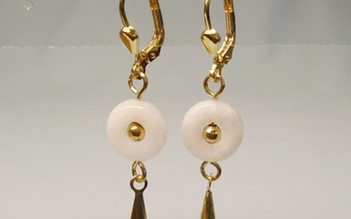 EARRINGS WHITE JADE & ONYX, silver 925 gold plated.