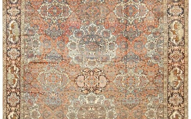 EXTREMELY RARE ANTIQUE PERSIAN BAKHTIARI CARPET, SIGNED + DATED (AH 1331/1913 AD). 19 ft 6 in x 14 ft 7 in (5.94 m x 4.44 m).
