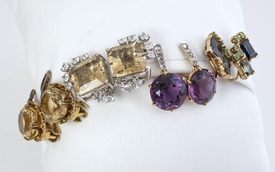 Four Pairs of 14-Karat Yellow-Gold, White-Gold and Gem-Set Earrings