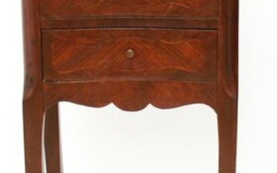 French Exotic Wood Inlay 2-Drawer Side Table