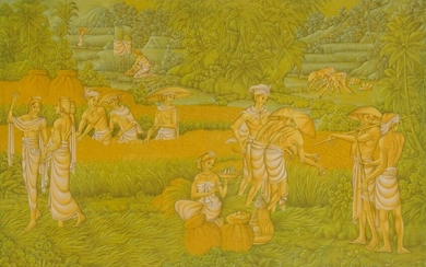 INDONESIAN BALI UBAD PAINTING OF A HARVEST SCENE