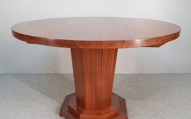 LARGE Art Deco teak GUERIDON, round top and faceted base....