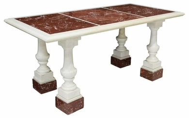 """LARGE ROUGE & WHITE MARBLE COLUMN TABLE, 72""""L"""