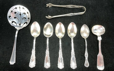 LOT OF STERLING SPOONS & TONGS
