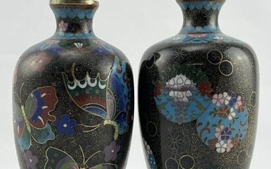 Lot of 2 Antique Chinese / Japanese Cloisonne Vases