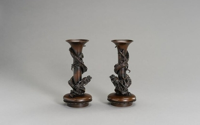MASAYOSHI: A PAIR OF BRONZE VASES WITH DRAGONS