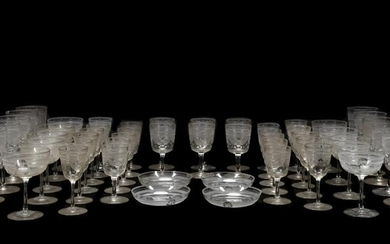 MONOGRAMMED COLORLESS GLASS TABLEWARE, 54PCS