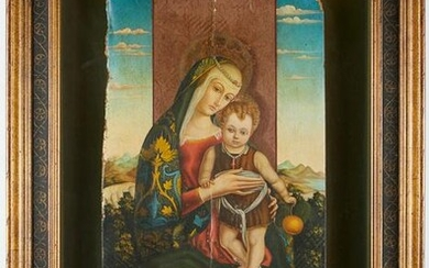 Madonna and Child Painting on Panel - Damaged