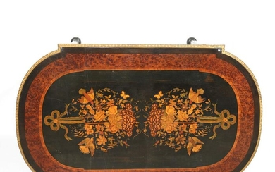 Napoleon III wooden table in marquetry, birds and