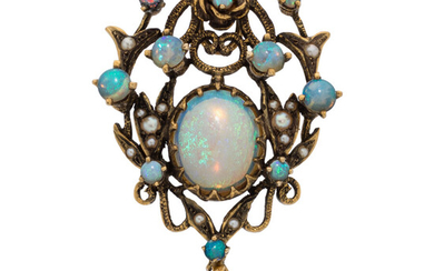 Opal, Cultured Pearl, Gold Brooch-Pendant Stones: Opal cabochons Pearl:...