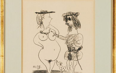 """PABLO PICASSO. """"The Lord and the Dame"""", ur: Fernand Mourlot Souvenirs and Artist Portraits """"."""