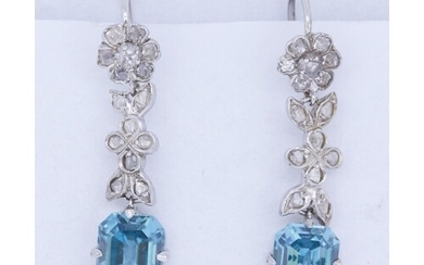 PAIR OF BLUE ZIRCON AND DIAMOND DROP EARRINGS, the diamond d...