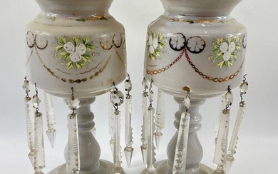 Pair of French hand painted milk glass Opaline Mantle LUSTRE...
