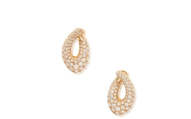 Pair of Gold and Diamond Earclips, Cartier