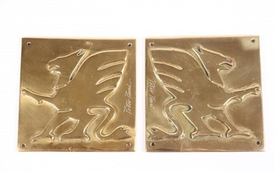 Pair of Griffin Plaques, Gold-plated