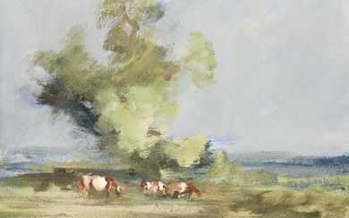 Peter Burman, British b.1941 - Marsh Cattle; oil on board, signed lower left 'Peter Burman', 36.1 x 46.3 cm (ARR) Provenance: Business Art Galleries, Royal Academy of Arts, London (according to the label attached to the reverse of the frame)