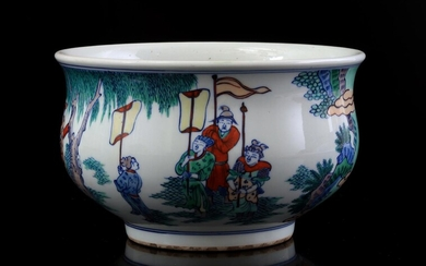 (-), Porcelain bowl decorated with figures in a...