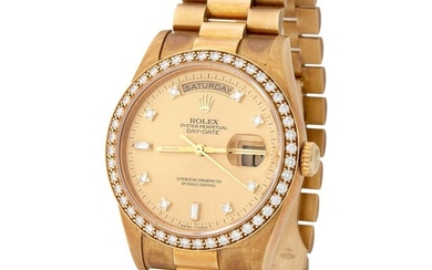 Rolex. Charismatic and Colorful Day-date Automatic Wristwatch in Yellow Gold, Reference 18 348, With Champagne Diamond-set Dial and Bezel, Sticker and Original Paper.