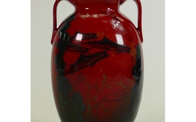 Royal Doulton Flambe Sung two handled vase: Decorated all ar...