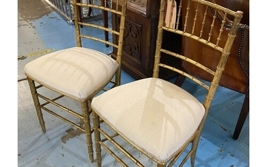 SIDE CHAIRS, a pair, 19th century giltwood with faux bamboo ...