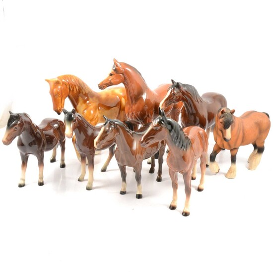Sixteen Beswick and other horse models