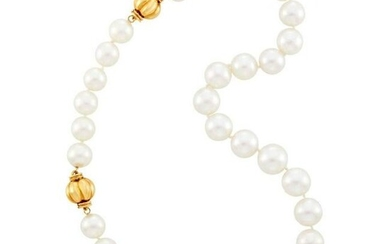 South Sea Cultured Pearl Necklace with Gold Clasps