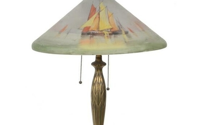 Table Lamp Marked Pairpoint, Reverse Painted Shade