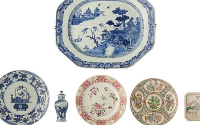 Various Chinese export porcelain items, two blue and white klapmuts...