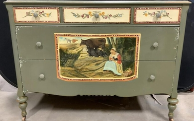 Vintage Hand Painted Chest w Casters
