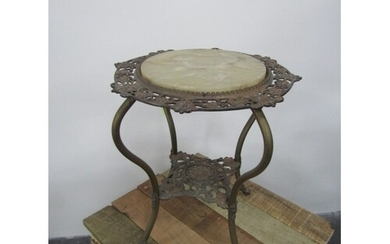 Vintage cast iron and Onyx side table
