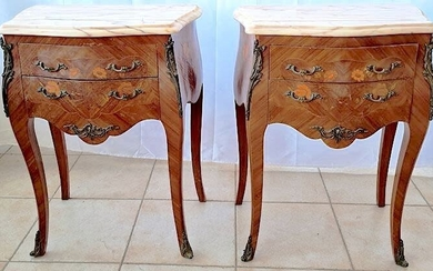 bedside tables (2) - Bronze, Wood, Marble, Rosewood - XX century