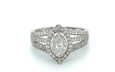 18ct white gold halo ring with 3 rows of diamond ( total of ...