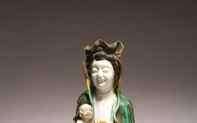 A CHINESE FAMILLE VERTE BISCUIT GUANYIN AND CHILD
