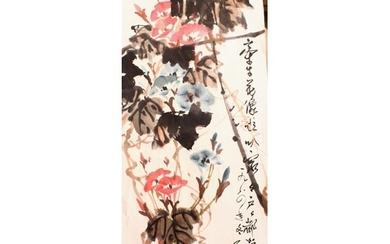 A CHINESE PAINTING ON PAPER OF FLOWERS, the painting depicti...