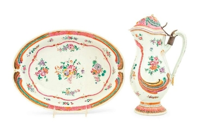A Chinese Export Famille Rose Porcelain Pitcher and