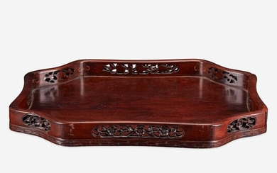 A Chinese carved hardwood floriform tray 硬木雕托盘 Qing Dynasty 清