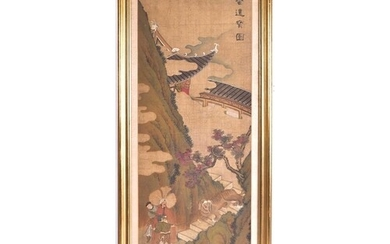 A Chinese watercolour on silk, Qing, late 19th century, pain...