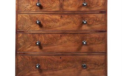 A FLAME MAHOGANY BOW FRONTED CHEST, GEORGE III